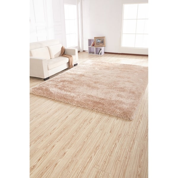2-Inch Thickness Pile Hand Tufted Solid Beige Shag Area Rug - 5' x 7'