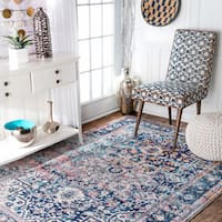 nuLoom Distressed Vintage Faded Floral Blue Rug - 6'7 x 9'
