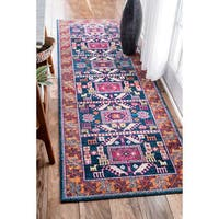 nuLoom Bohemian Transitional Navy Tribal Runner Rug (2'8 x 12')