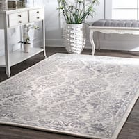 Nuloom Handmade Dip Dyed Damask Light Grey Wool Rug (9'6 x 13'6)