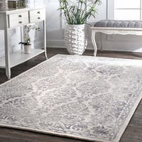 "Nuloom Handmade Dip Dyed Damask Light Grey Wool Rug - 9'6"" x 13'6"""