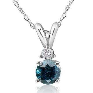10k White Gold 1/4ct TDW Blue and White Diamond Necklace (H-I, I3) - White H-I