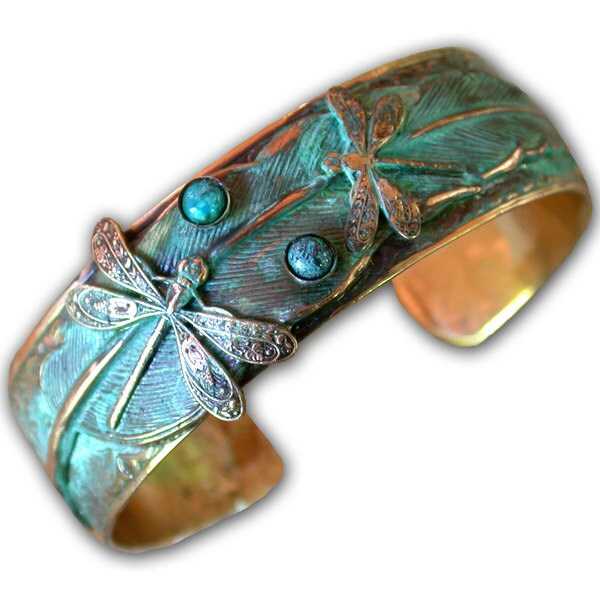 Handmade Turquoise Patina Dragonflies-on-Feather Cuff. Opens flyout.