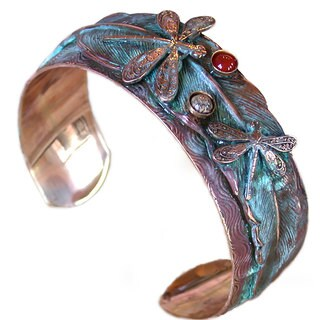 Handmade Patina Dragonflies on Feather Cuff - Jasper, Carnelian (USA)