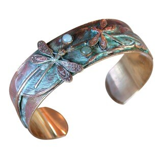 Handmade Verdigris Patina Solid Brass Dragonflies on Feather Cuff with Light Amazonite, Jade by Elaine Coyne (USA)