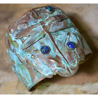 Handmade Verdigris Patina Brass Dragonfly Tapered Cuff with Azurite by Elaine Coyne (USA)