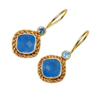 Handmade Sterling Silver Gold Overlay Chalcedony & Blue Topaz Earrings (India)