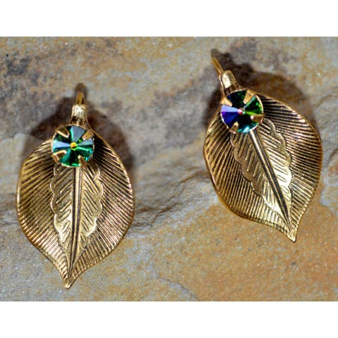 Handmade Antique Gold Sculptural Leaf Earrings - Crystals (USA)