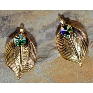 Handmade Antique Gold Brass Detailed Sculptural Leaf Earrings with Dark Vitrail Swarovski Element Cr
