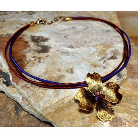Handmade Antiqued Gold Dogwood Flower Pendant - Gemstones (USA)