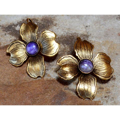 Handmade Antiqued Gold Dogwood Flower Earrings -Charoite (USA)