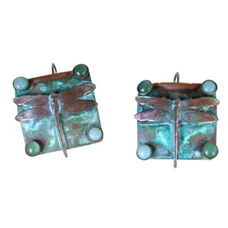 Handmade Verdigris Patina Solid Brass Dragonfly on Etched Square Earrings with Light Amazonite, Jade by Elaine Coyne (USA)