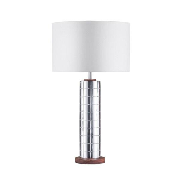 Nova Lighting Lattice Aluminum/White Linen Shade Table Lamp