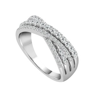 Sparkle Collection 1/2CT Diamond Crossover Band in 10KT White Gold