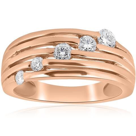 14K Rose Gold 1/2ct Diamond Right Hand Journey Ring (H/I, I1) - White H-I