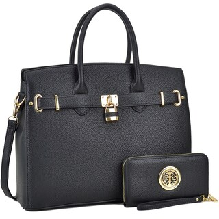 Dasein Padlock Satchel Handbag with Matching Wallet (Option: Black)