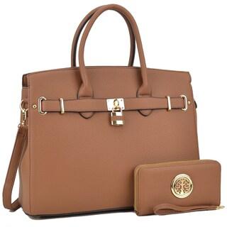 Dasein Padlock Satchel Handbag with Matching Wallet (Option: Brown)