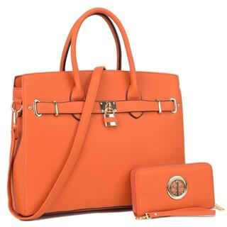 Dasein Padlock Satchel Handbag with Matching Wallet (Option: Mustard)