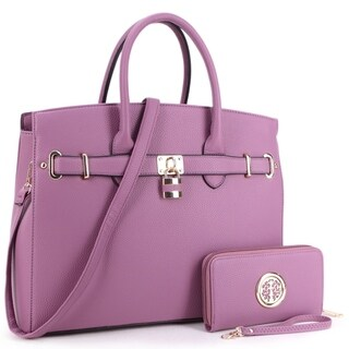 Dasein Padlock Satchel Handbag with Matching Wallet