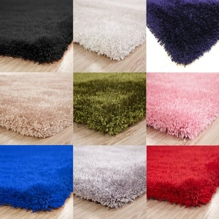 Single Color Shag Hand Tufted Rugs with 2-Inch Thickness Height - 5' x 7'