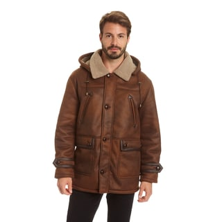 Excelled Men's Big and Tall Faux Shearling Hooded Jacket