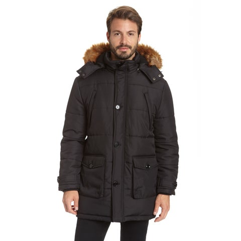 Excelled Men's Big and Tall 3/4 Length Polyester Parka with Faux Fur Trim Removable Hood