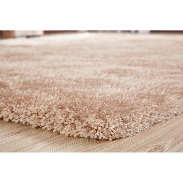 Beige Color Shag Hand Tufted Rugs with 2-Inch Thickness Height - 5' x 7'