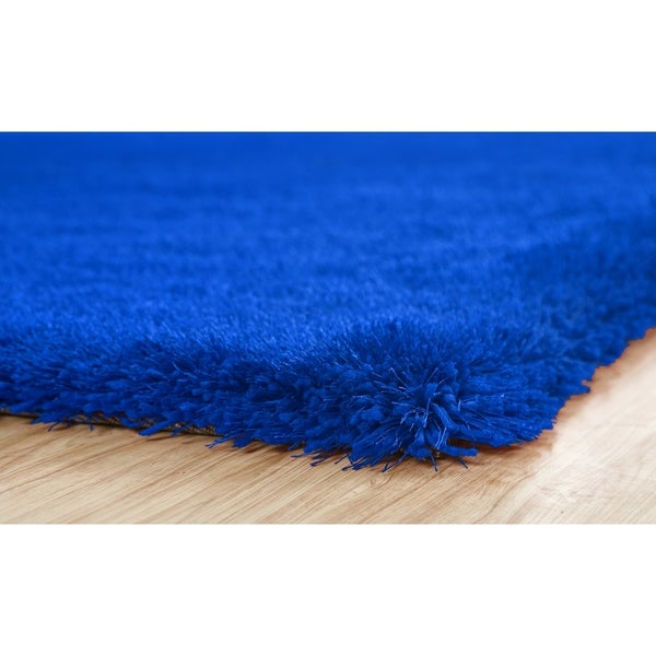 Blue Color Shag Hand Tufted Rugs with 2-Inch Thickness Height - 5' x 7'