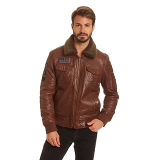 Excelled Men's Big and Tall Lambskin A-2 Flight Jacket with Faux Curly Sherpa Collar