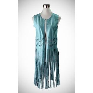 Le Nom Long faux suede vest with long fringe and laser cut chevron patterns along middle