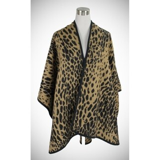 Le Nom Classic leopard print ruana with black trimming