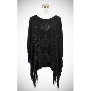 Le Nom Faux suede poncho with laser cut circular patterns|https://ak1.ostkcdn.com/images/products/17977774/P24152484.jpg?impolicy=medium