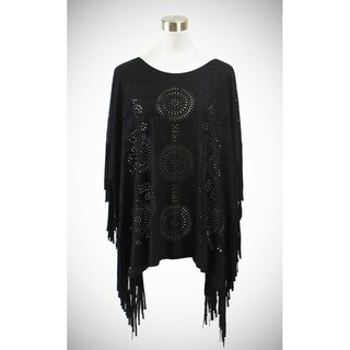 Le Nom Faux suede poncho with laser cut circular patterns (Option: Brown)