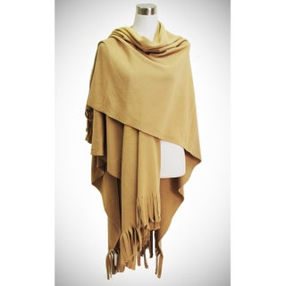 Le Nom Chic ruana in polar fleece feel in deep hues and large cut fringe (Option: Beige)