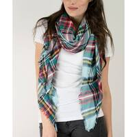 Le Nom luxury yarn dyed plaid pattern blanket scarf