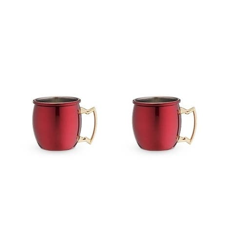 Rustic Holiday Red Moscow Shot Mug Set by Twine