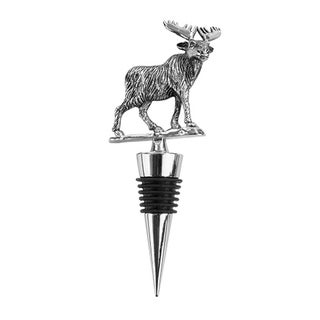 Rustic Holiday Woodland Moose Pewter Stopper by Twine