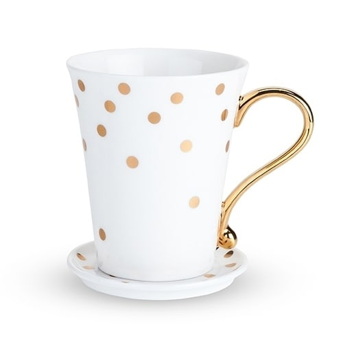"""Country Cottageβ""""' Polka Dot Ceramic Mug and Saucer by Tw..."""