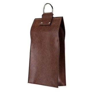 Admiral: Faux Leather Double Bottle Brown Wine Tote (VISKI)
