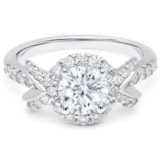 LeZari & Co. 1.50ct TDW with 0.80ct Center diamond with Halo, U Pave set Bow Style Engagement ring in 18K white Gold.