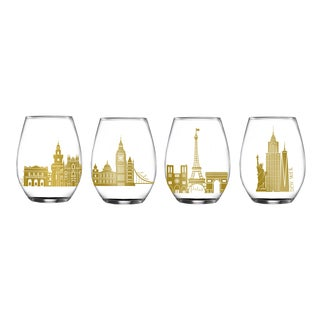 Cities Stemless Wine Glasses - Set of 4