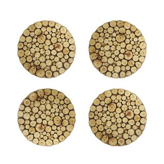 Wooden Discs Natural Charger Plates (Set of 4)