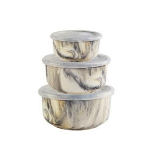Marble Tortoise Set of 3 Bowls with Lids