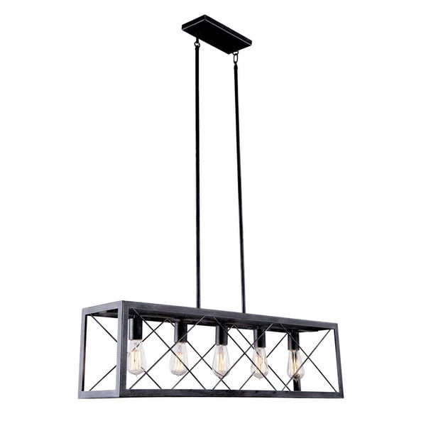 Aztec Lighting Industrial Black-and-Silver-Crackle-Finished Steel 5-light Pendant Light