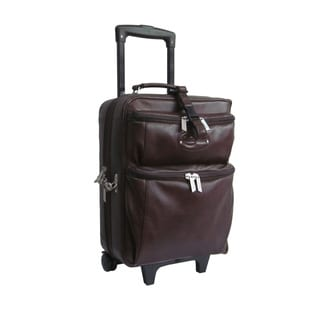 Amerileather Brown Leather Novix Carry On Rolling Gament Bag