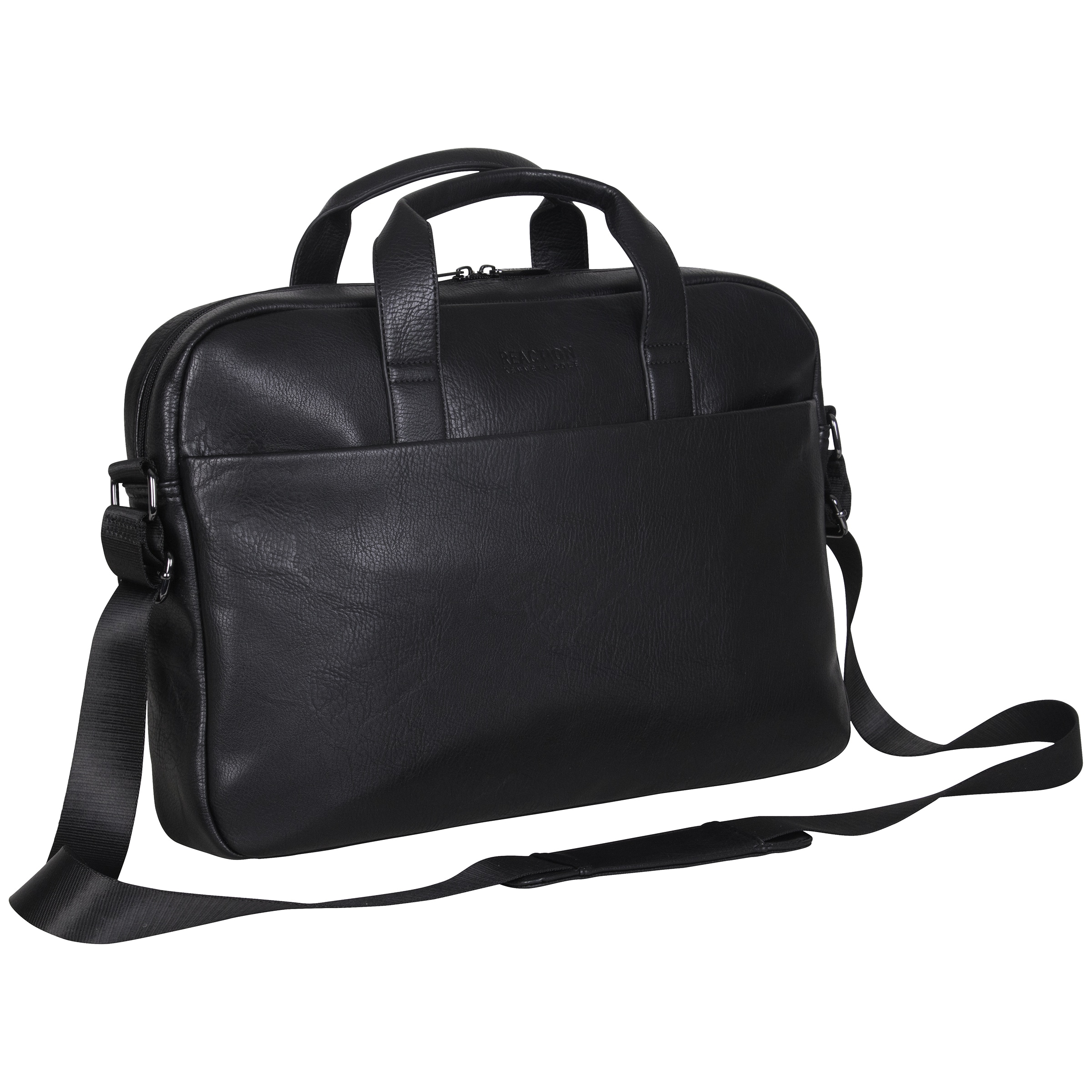 Leather Flap-Over 15-inch Laptop//Tablet Briefcase Black Solid Adjustable Strap Flapover Multi-Compartment
