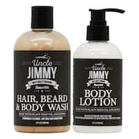 Uncle Jimmy Hair Beard and Body Wash + Body Lotion Set
