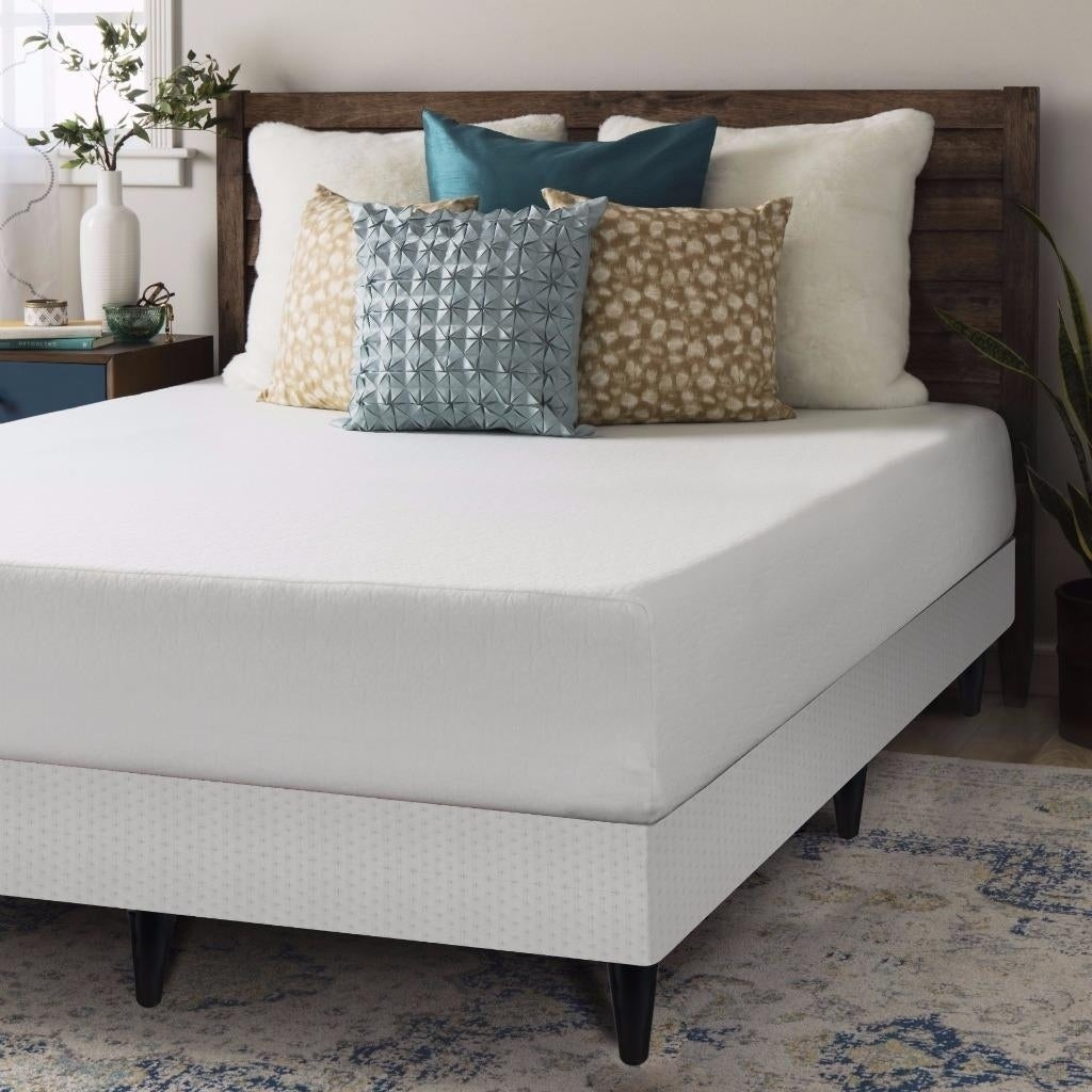 Crown Comfort 10 Inch Memory Foam Mattress And Box Spring With Legs