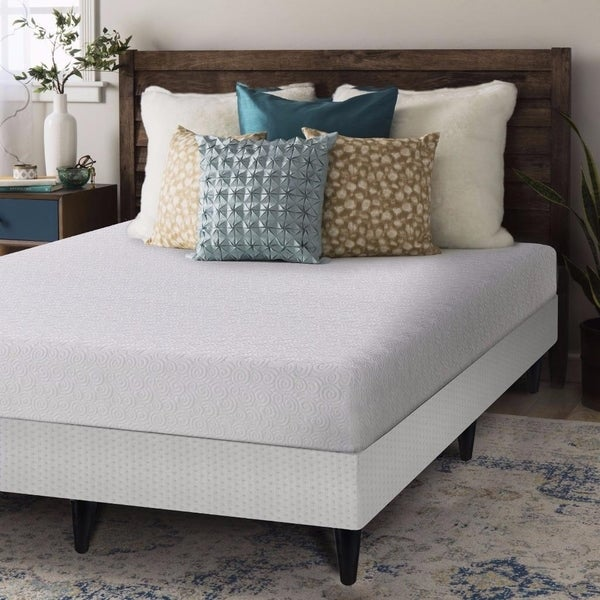 7 Inch Gel Memory Foam Mattress with Box Spring and Legs Set - Crown Comfort