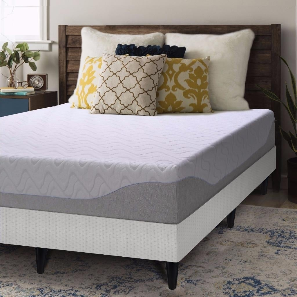 crown comfort gel 9 inch twin size bi fold box spring and memory foam mattress ebay. Black Bedroom Furniture Sets. Home Design Ideas